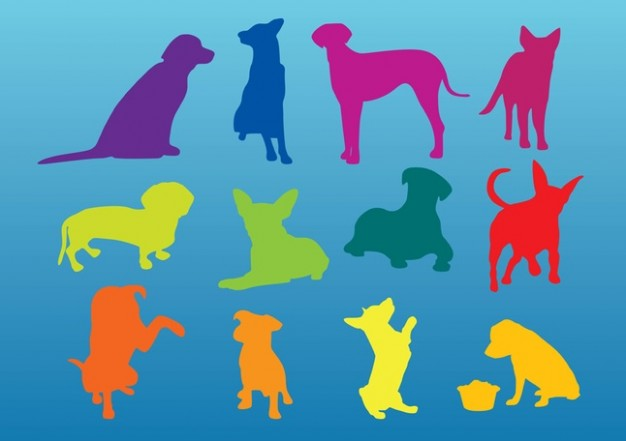 Dogs Silhouettes in different color with blue background