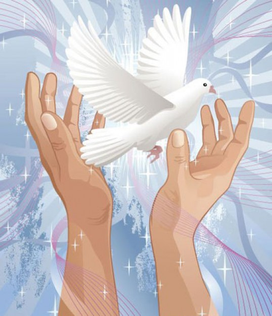 dove flying out Hands Wish For Peace