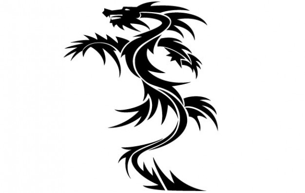 Dragon Tattoo standing up clipart Vector