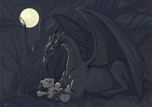 dragon with teddy over night forest background