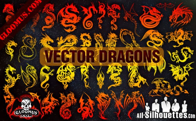 Dragons Silhouettes Vector in golden and red yellow