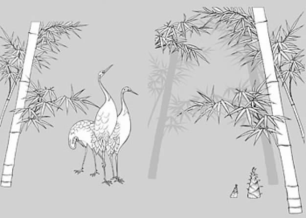 drawing of plant bamboos and cranes vector material of Chinese style
