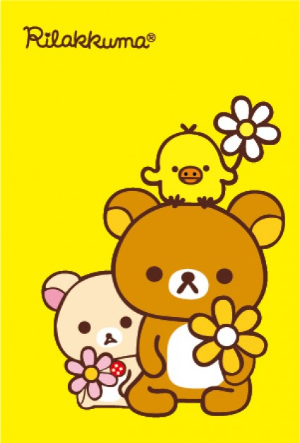 Easily Bear rabbit bird with flower vector file over yellow background