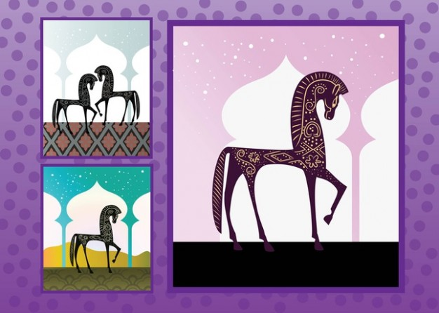 elegant Arabian Horses arounded with purple border