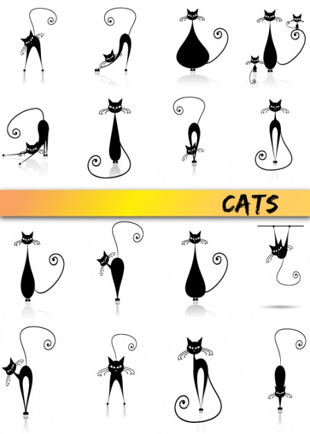 elegant black cats Stick figure black Vector