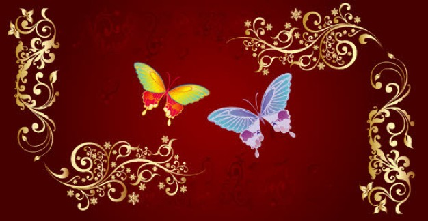 elegant Golden ornament with butterfly over red background
