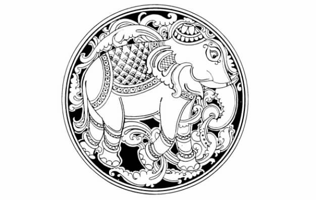 Elephant and leaf in the circle clip art for logo design