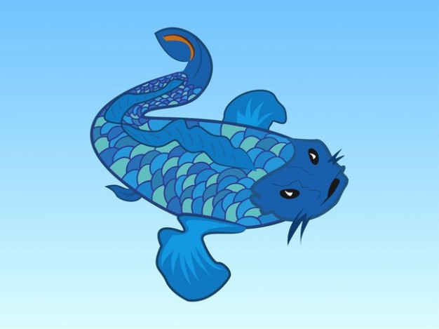 Evil fish swimming cartoon vector with light blue background