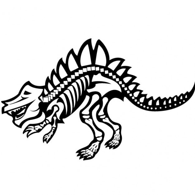 Fearsome dinosaur skeleton graphic side view clipart
