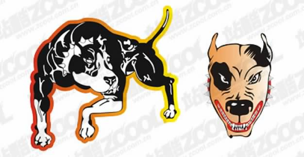 ferocious dogs and head vector material