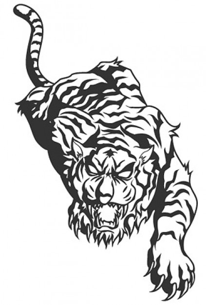 Ferocious tiger with fighting pose vector material