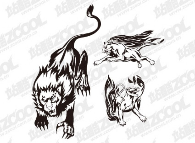 Fire Lion totem vector clip art material over gray background