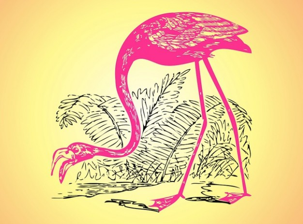 Flamingo bird and plants sketch vector over earth yellow background