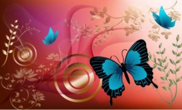 Flowers and Blue Butterfly Graphics with Red Background Vector Design