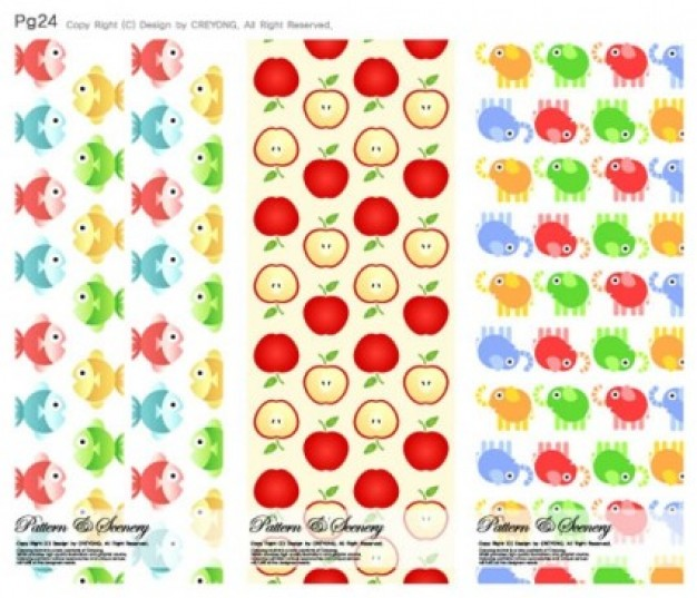 Free beautiful cute background with fish fruit blue pink red orange yellow