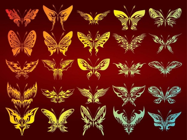 Free Butterflies Collection in golden green