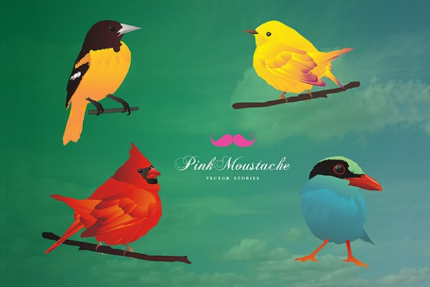 free cute birds vector illustration with green background