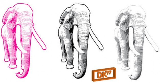 Free  Elephant Vector in different colour