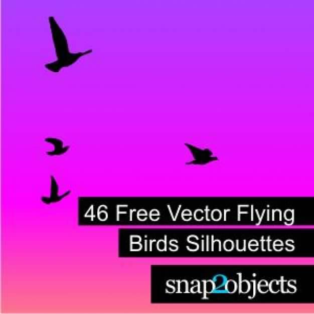 Free forty-six Vector Silhouettes with Flying Birds