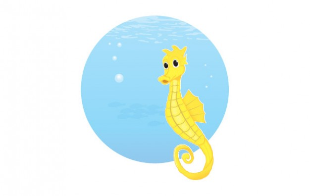 free seahorse with blue water circle at back vector