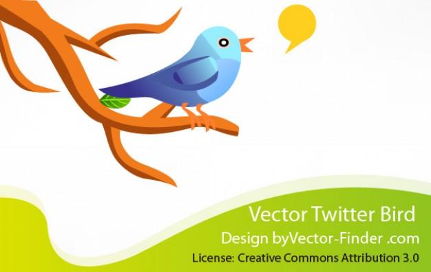 Free Twitter Bird stopping at branch Vector
