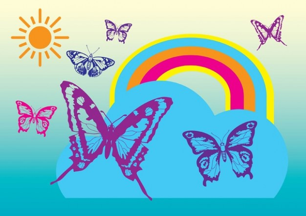 Free Vectors with Butterflies rainbow sun and blue at bottom