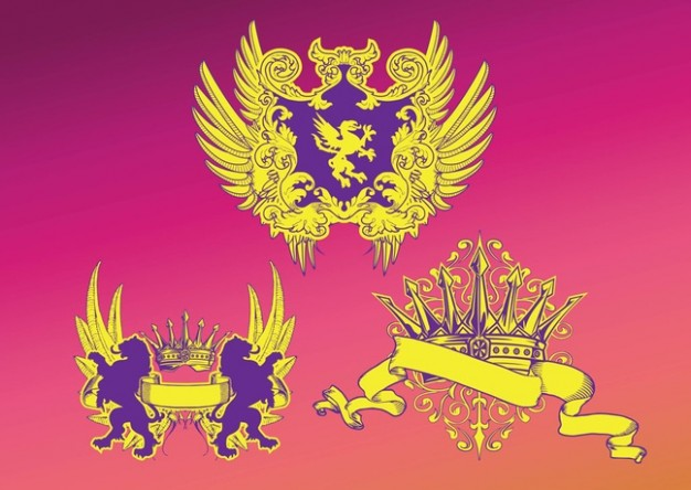 Free Vintage Shields Vectors with golden lion eagle crown
