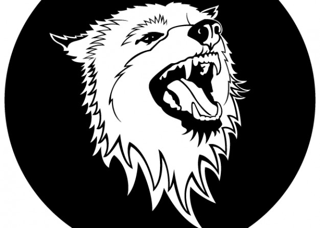 free Wolf head with dark circle back vector