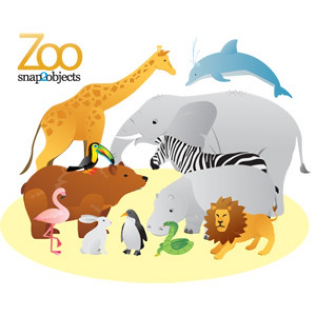 Free Zoo Animals Vector like elephant dolphin bear giraffe lion penguin crane etc