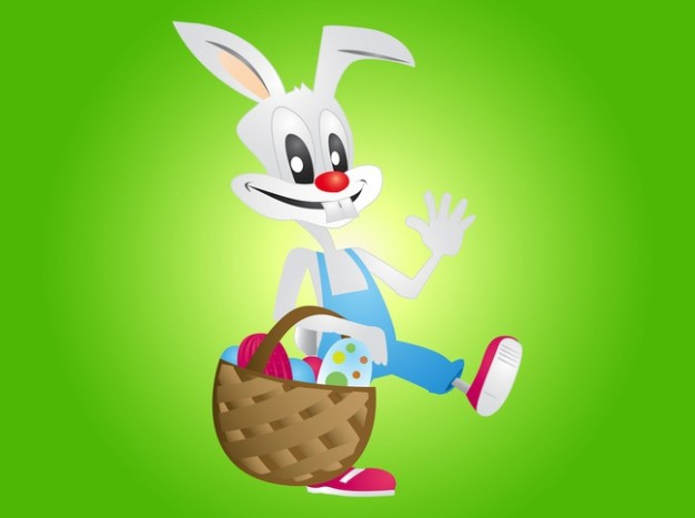 Funny easter bunny hang with egg basket vector