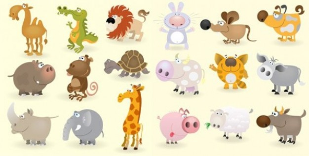 Set of funny cute cartoon animals like Bull Camel Cat etc