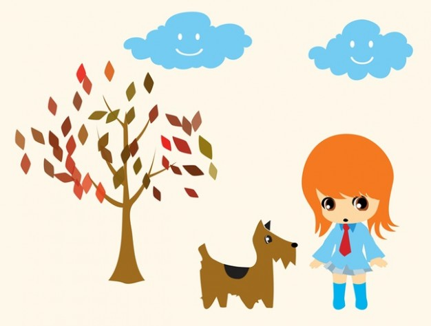 Girl and Dog Walking with tree and clouds