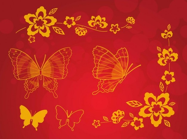 Golden butterflies greeting card with red background