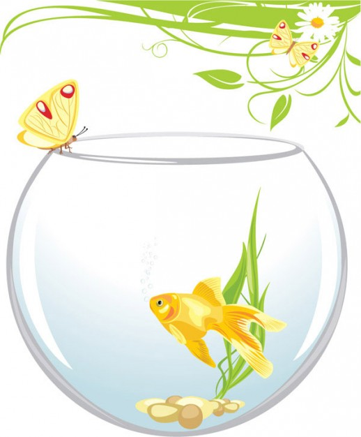 Goldfish in fishbowl and butterfly stopping on bowl border vector material -4