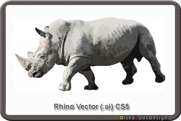 gray rhino vector in side view
