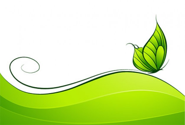 Green Butterfly Vector material over green swirl and wave
