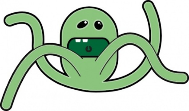 green octopus opening mouth with four tentacles