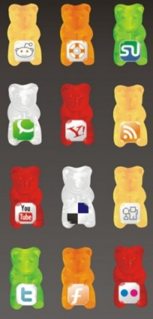 gummy social icon set in teddy bear figure with gray background