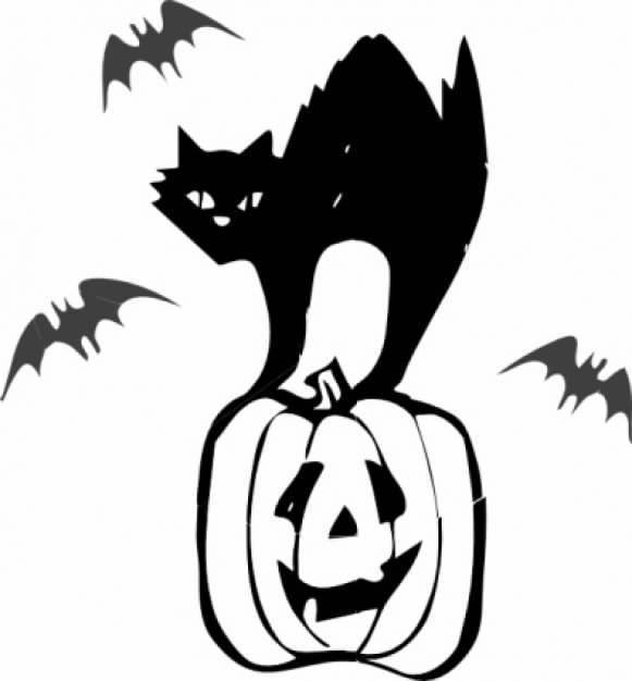 halloween clip art with gatto nero cat and bats