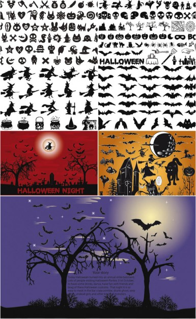 Halloween silhouettes vector with bat tree night moon owl