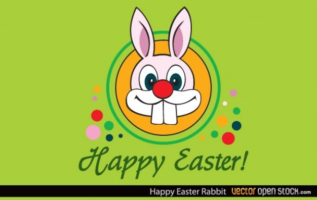 happy easter card with rabbit and colorful dots in stylish green background