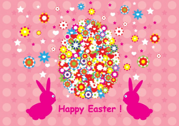 happy easter egg made of flowers design with pink background