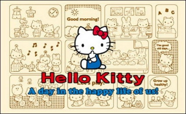 Hello kitty official Vector with frame drawing