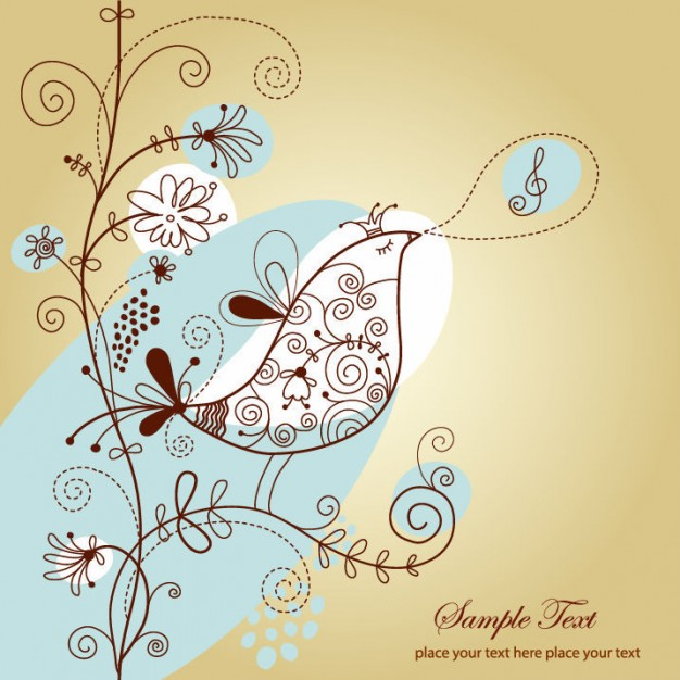 singing bird on floral with yellow background