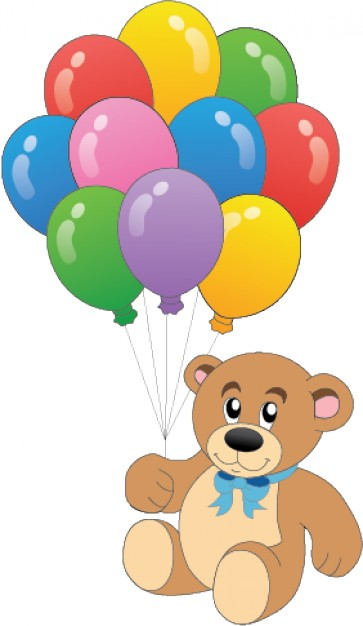 Brown Teddy bear with colorful balloons for template