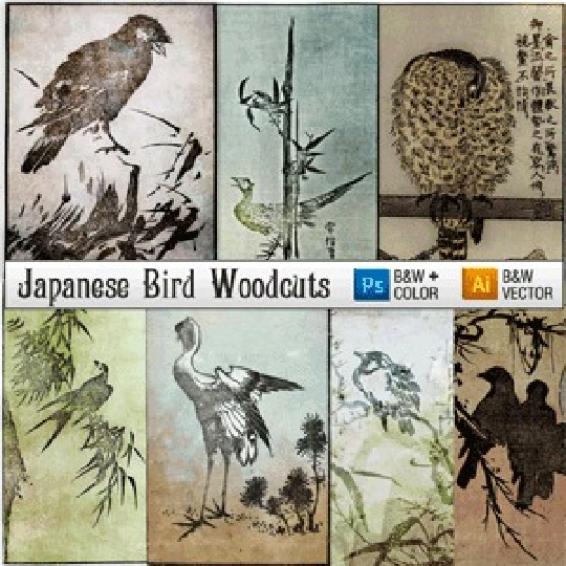 Japanese Woodcut Engravings Of Birds like crane eagle crow and bamboo pine tree