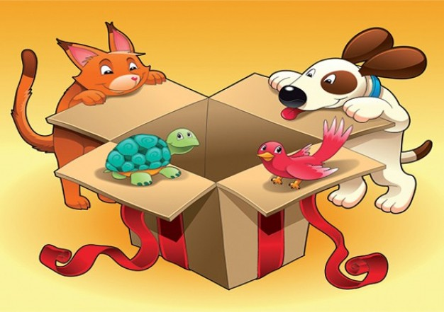 Colorful cartoon animals on gift box edge illustration