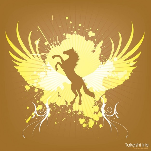 Jumping Horse Graphics with yellow wings and brown background