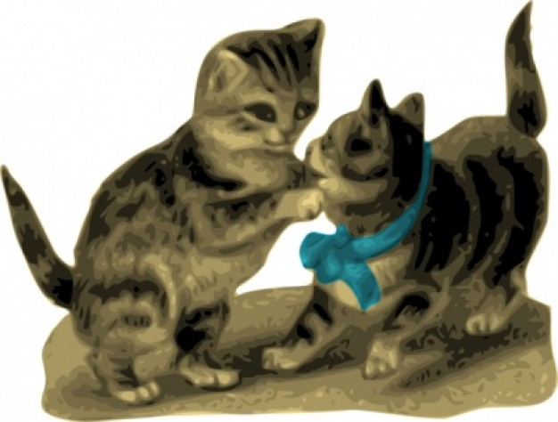 kittens playing game clip art that one with blue ribbon