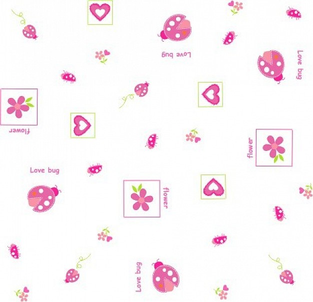ladybug catarinas flower heart in pink color